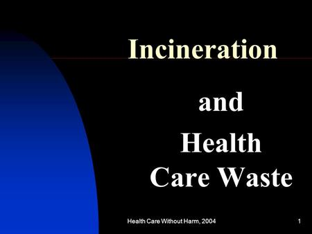 Health Care Without Harm, 20041 Incineration and Health Care Waste.