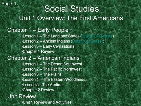 Social Studies Unit 1 Overview: The First Americans Chapter 1 – Early People Lesson 1 – The Land and States (BrainPOP Teaser)BrainPOP Teaser Lesson 2 –