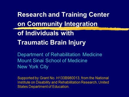 Research and Training Center on Community Integration of Individuals with Traumatic Brain Injury Department of Rehabilitation Medicine Mount Sinai School.