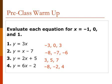 Evaluate each equation for x = –1, 0, and 1. 1. y = 3x 2. y = x – 7 3. y = 2x + 5 4. y = 6x – 2 –3, 0, 3 –8, –7, –6 3, 5, 7 –8, –2, 4 Pre-Class Warm Up.