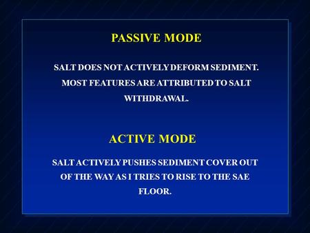 PASSIVE MODE SALT DOES NOT ACTIVELY DEFORM SEDIMENT. MOST FEATURES ARE ATTRIBUTED TO SALT WITHDRAWAL. ACTIVE MODE SALT ACTIVELY PUSHES SEDIMENT COVER OUT.