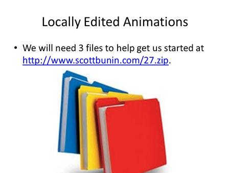 Locally Edited Animations We will need 3 files to help get us started at