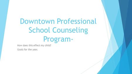 Downtown Professional School Counseling Program-