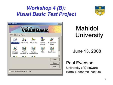 1 Workshop 4 (B): Visual Basic Test Project Mahidol University June 13, 2008 Paul Evenson University of Delaware Bartol Research Institute.