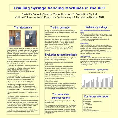Trialling Syringe Vending Machines in the ACT David McDonald, Director, Social Research & Evaluation Pty Ltd Visiting Fellow, National Centre for Epidemiology.