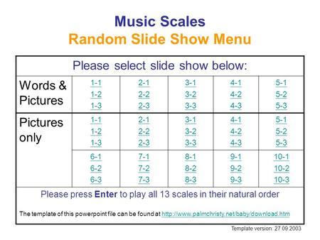 Music Scales Random Slide Show Menu Please select slide show below: Words & Pictures 1-1 1-2 1-3 2-1 2-2 2-3 3-1 3-2 3-3 4-1 4-2 4-3 5-1 5-2 5-3 Pictures.