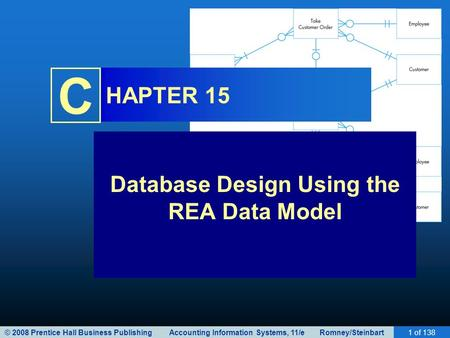 © 2008 Prentice Hall Business Publishing Accounting Information Systems, 11/e Romney/Steinbart1 of 138 C HAPTER 15 Database Design Using the REA Data Model.