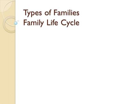 Types of Families Family Life Cycle. FAMILY Consists of 2 or more people living in the same household.