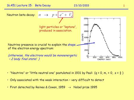 "16.451 Lecture 15: Beta Decay 23/10/2003 Neutron beta decay: light particles or ""leptons"", produced in association. Neutrino presence is crucial to explain."