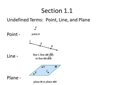 Section 1.1 Undefined Terms: Point, Line, and Plane Point - Line - Plane -