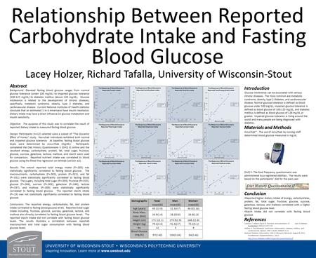Relationship Between Reported Carbohydrate Intake and Fasting Blood Glucose Lacey Holzer, Richard Tafalla, University of Wisconsin-Stout Abstract Background: