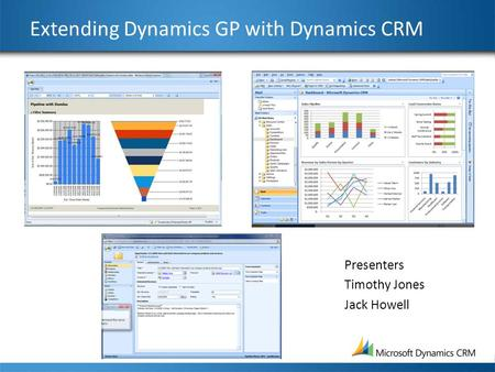 Extending Dynamics GP with Dynamics CRM Presenters Timothy Jones Jack Howell.