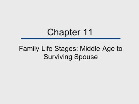 Chapter 11 Family Life Stages: Middle Age to Surviving Spouse.