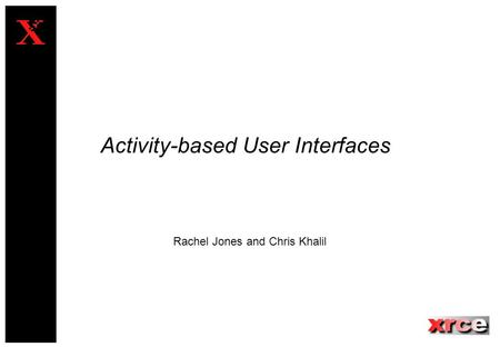 Activity-based User Interfaces Rachel Jones and Chris Khalil.