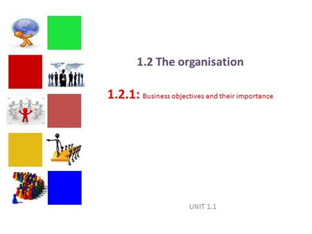 1.2 The organisation 1.2.1: Business objectives and their importance
