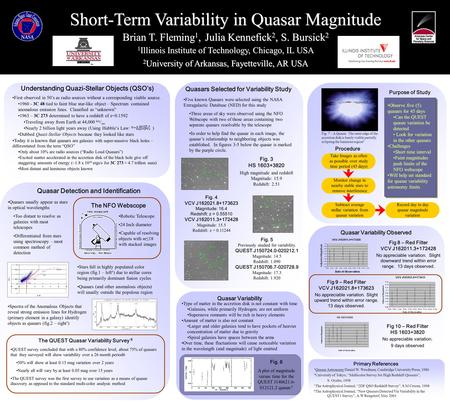 ` Short-Term Variability in Quasar Magnitude Brian T. Fleming 1, Julia Kennefick 2, S. Bursick 2 1 Illinois Institute of Technology, Chicago, IL USA Sequential.