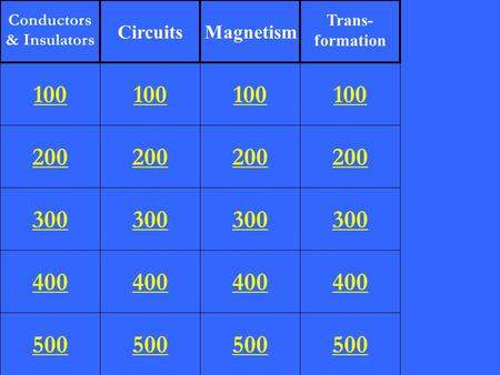 200 300 400 500 100 200 300 400 500 100 200 300 400 500 100 200 300 400 500 100 Conductors & Insulators CircuitsMagnetism Trans- formation.