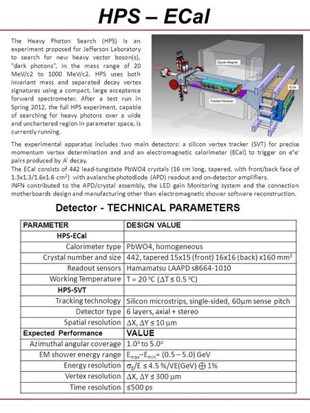 HPS – ECal Detector - TECHNICAL PARAMETERS The experimental apparatus includes two main detectors: a silicon vertex tracker (SVT) for precise momentum.