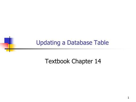 11 Updating a Database Table Textbook Chapter 14.
