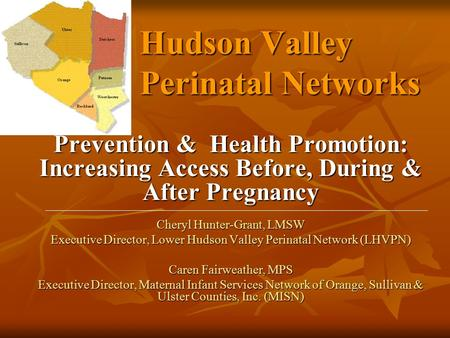 Hudson Valley Perinatal Networks Prevention & Health Promotion: Increasing Access Before, During & After Pregnancy Cheryl Hunter-Grant, LMSW Executive.