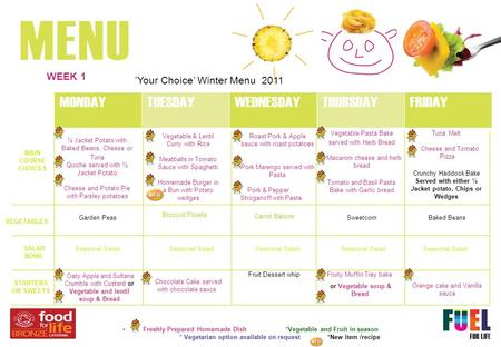'Your Choice' Winter Menu 2011