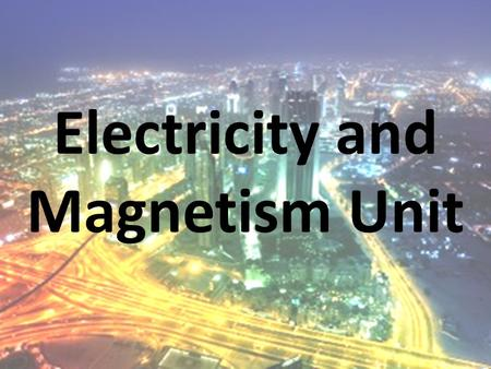 Electricity and Magnetism Unit. What is an atom? A tiny building block of matter Electron: negative charge; can move freely between atoms Proton: positive.