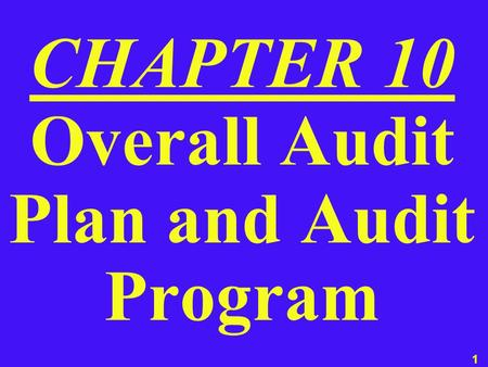 1 CHAPTER 10 Overall Audit Plan and Audit Program.