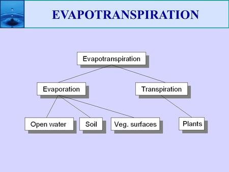 EVAPOTRANSPIRATION.  P - ET = available water for our use!  Rate and amount of ET is the core info needed to design irrigation projects  Understanding.