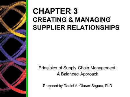 CHAPTER 3 CREATING & MANAGING SUPPLIER RELATIONSHIPS