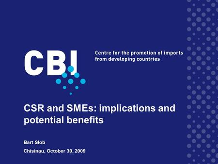 CSR and SMEs: implications and potential benefits Bart Slob Chisinau, October 30, 2009.