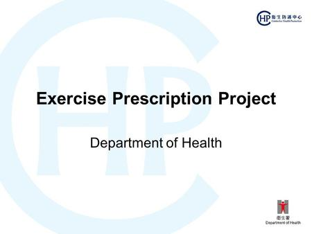 Exercise Prescription Project Department of Health.