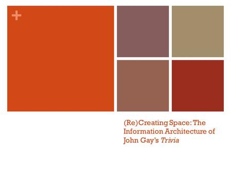 + (Re)Creating Space: The Information Architecture of John Gay's Trivia.