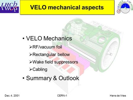 Dec. 4, 2001 CERN-1 Hans de Vries VELO Mechanics  RF/vacuum foil  Rectangular bellow  Wake field suppressors  Cabling Summary & Outlook VELO mechanical.