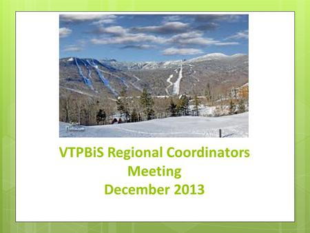 VTPBiS Regional Coordinators Meeting December 2013.