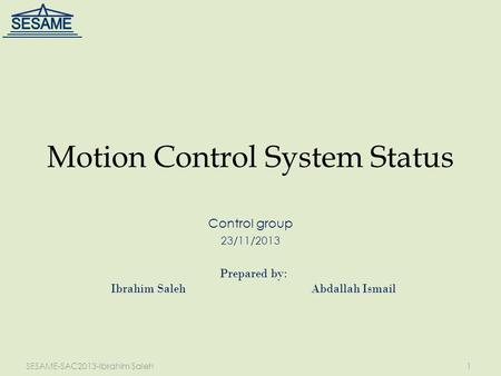 Motion Control System Status