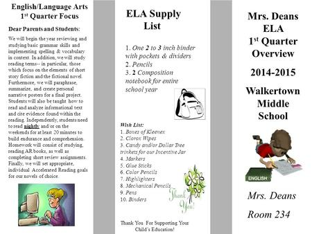 English/Language Arts 1 st Quarter Focus Thank You For Supporting Your Child's Education! Mrs. Deans ELA 1 st Quarter Overview 2014-2015 Walkertown Middle.