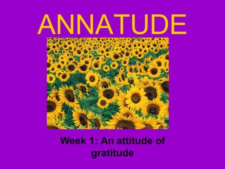 ANNATUDE Week 1: An attitude of gratitude. Who's Anna? Anna Cela Greenberg March 07, 1985 - May 28, 2013.
