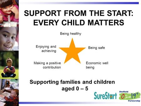 SUPPORT FROM THE START: EVERY CHILD MATTERS Supporting families and children aged 0 – 5 Being healthy Being safe Economic well being Making a positive.