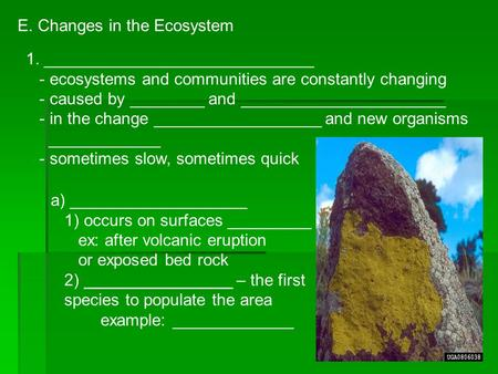 E. Changes in the Ecosystem 1. _____________________________ - ecosystems and communities are constantly changing - caused by ________ and ______________________.