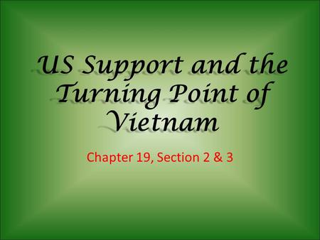 US Support and the Turning Point of Vietnam Chapter 19, Section 2 & 3.