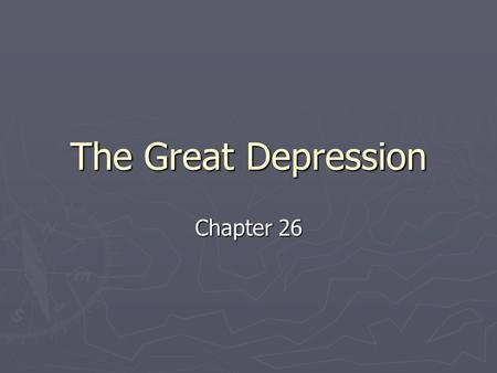 The Great Depression Chapter 26. The Reasons For The Crash ► Uneven distribution of income  Over half of the nations population was at or below the minimum.