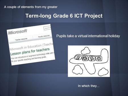 Term-long Grade 6 ICT Project Pupils take a virtual international holiday A couple of elements from my greater In which they...