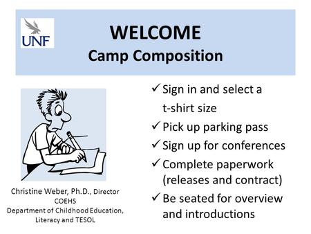 WELCOME Camp Composition Sign in and select a t-shirt size Pick up parking pass Sign up for conferences Complete paperwork (releases and contract) Be.