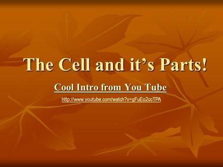 The Cell and it's Parts! Cool Intro from You Tube Cool Intro from You Tube