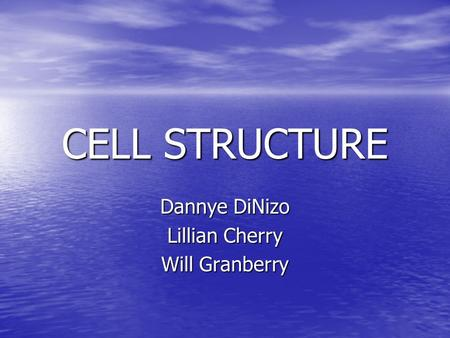 CELL STRUCTURE Dannye DiNizo Lillian Cherry Will Granberry.