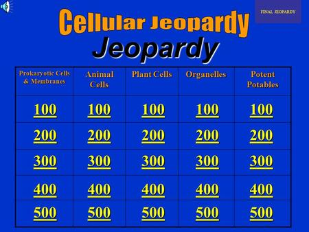 Jeopardy Prokaryotic Cells & Membranes Animal Cells Plant Cells Organelles Potent Potables FINAL JEOPARDY 100 200 300 400 500 100 200 300 400 500 100.