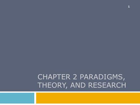 CHAPTER 2 PARADIGMS, THEORY, AND RESEARCH 1. Chapter Outline  Some Social Science Paradigms  Two Logical Systems Revisited  Deductive Theory Construction.