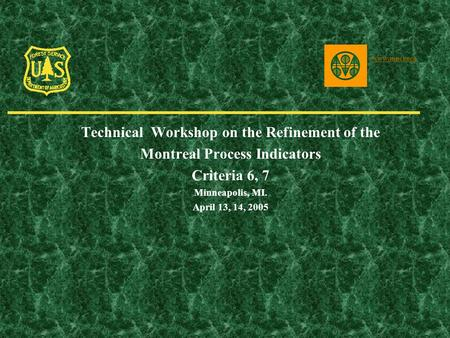Technical Workshop on the Refinement of the Montreal Process Indicators Criteria 6, 7 Minneapolis, MI. April 13, 14, 2005 www.mpci.org.