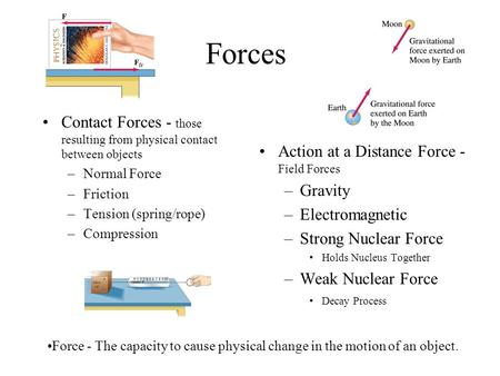 Forces Contact Forces - those resulting from physical contact between objects –Normal Force –Friction –Tension (spring/rope) –Compression Action at a Distance.