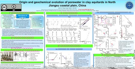 Origin and geochemical evolution of porewater in clay aquitards in North Jiangsu coastal plain, China Qin Ge 1, Xing Liang 2, Jing Li 1, Bin Ma 1 1 School.